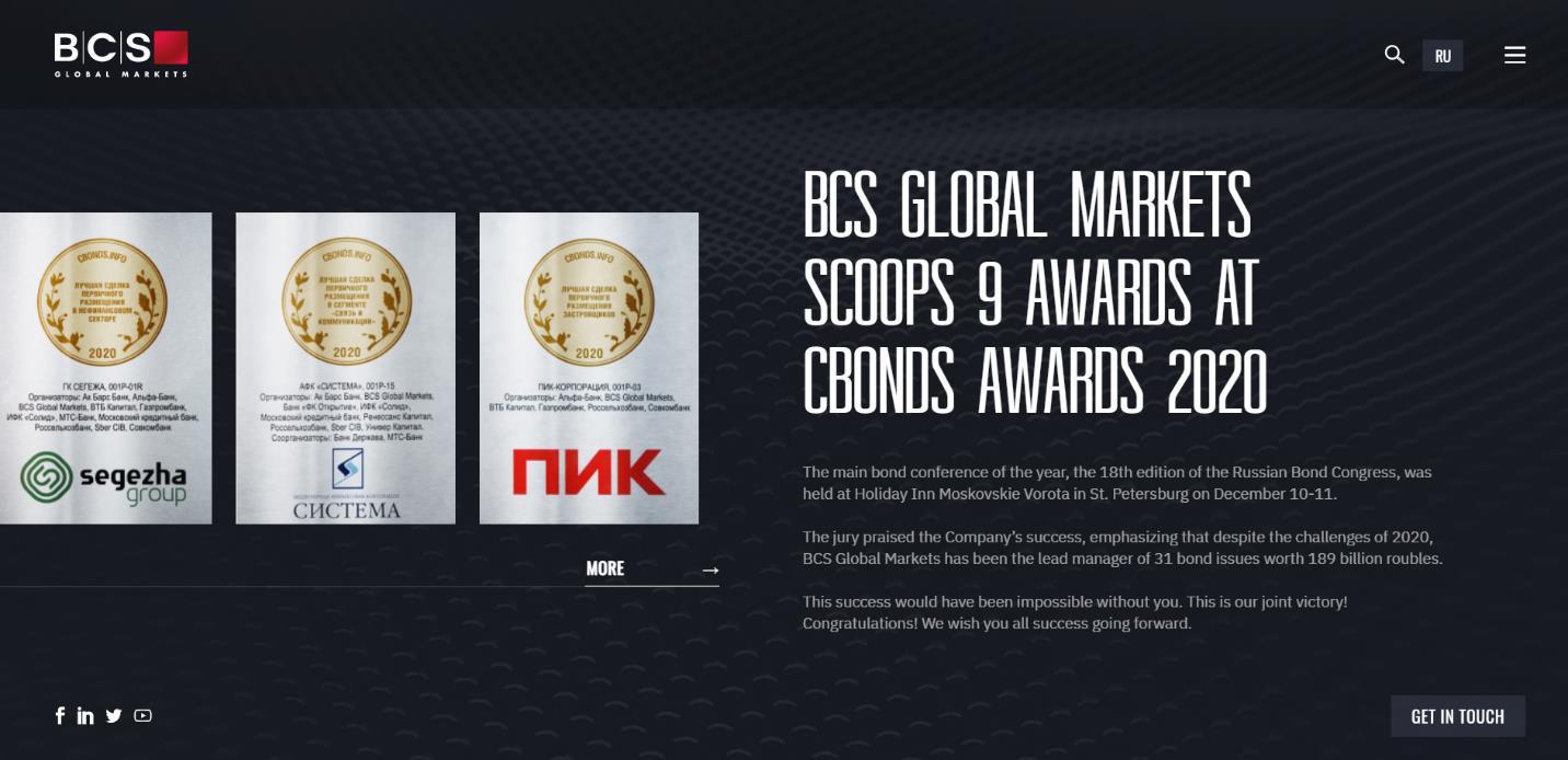 награды компании bcs markets