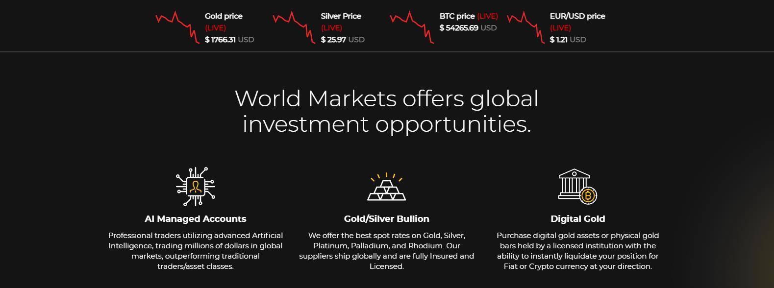 торговые условия world markets